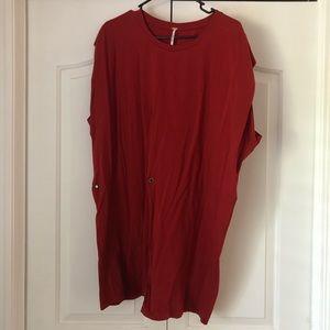 Free People Red tshirt dress
